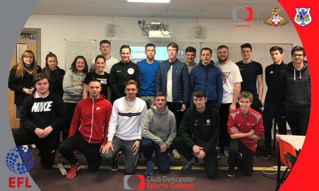 EFL referee Darren England visits Sports College