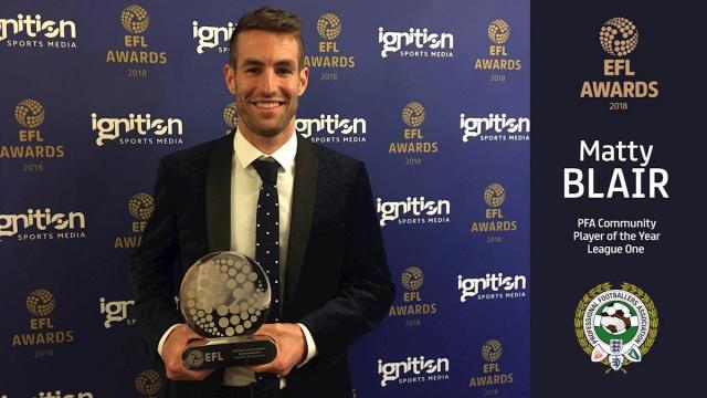 Matty Blair collects EFL award