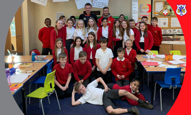 Rovers players treat pupils to school visit