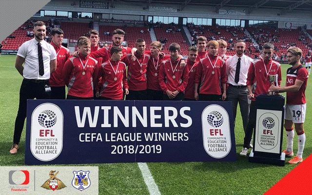 Club Doncaster Sports College celebrate CEFA Trophy win