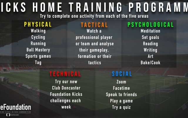 Doncaster Kicks launch home training programme to support player development during lockdown